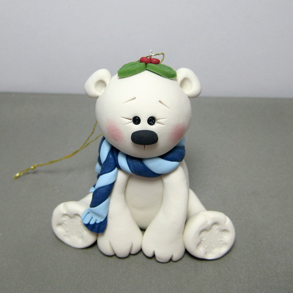 Polymer Clay Christmas Ornament: Reserved For Carol Winter Polar Bear Polymer Clay Ornament