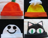 Halloween Hat Sewing Pattern PDF. Pumpkin, Candy Corn, Cat, Ghost.  Child Sizes 0-10 years
