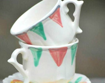 Girls Tea Cups // Banner Bunting Pink & Aqua Shabby Chic Tea Party . .  Personalized Handpainted // Lovely for tea parties and showers. . .