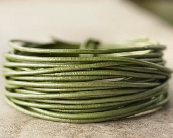 1.5mm Round Leather Cord Metallic Juniper : 15 Feet Genuine Leather Cord Green