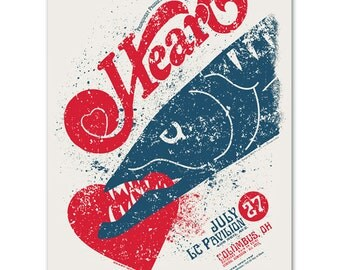 Rock band HEART Barracuda Concert Poster, silkscreen Ohio gigposter screenprinted by hand.