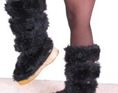 vintage 70s tall black Fur Leather After Ski Yeti insulated winter snow boots womans sz 5