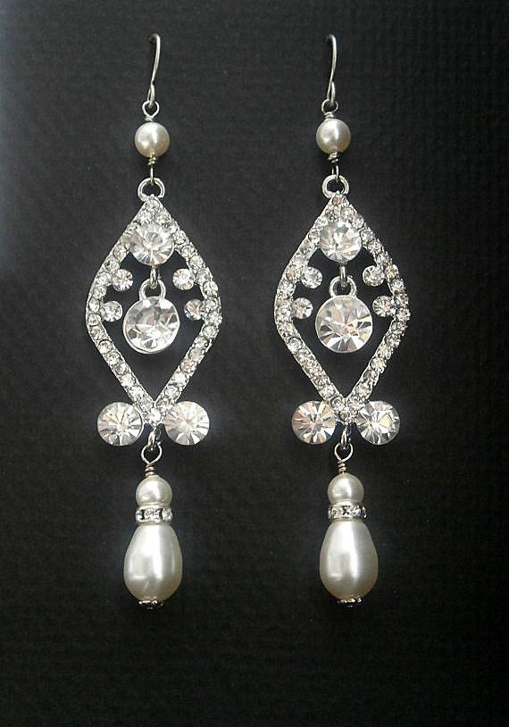 Pearl Earrings Vintage Bridal Chandelier Earrings With Crystals And Cream Swarovski Crystal Teardrop Pearls