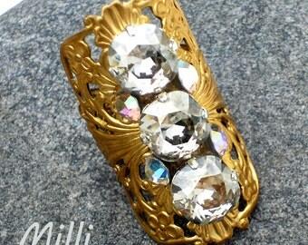 Gaudy Ring, Swarovski silvershade, Russian gold plated filigree, Swarovski clear crystal ab - FREE SHIPPING in lower 48 states.