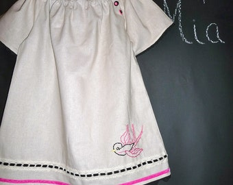 SAMPLE - A-line Linen mix Hand Embroidered Dress / top - Will fit Size 3T up to a 7 yr - by Boutique Mia and More - Ready To Ship