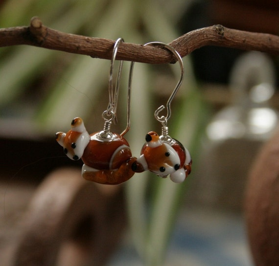 Artisan glass lampwork fox earrings ... Outfoxed  ... by simply cindy