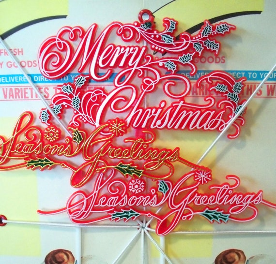 Retro / Christmas Holiday Script / Cake Toppers / Three Items / Painted Plastic