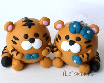 Custom Round Tiger Wedding Cake Topper