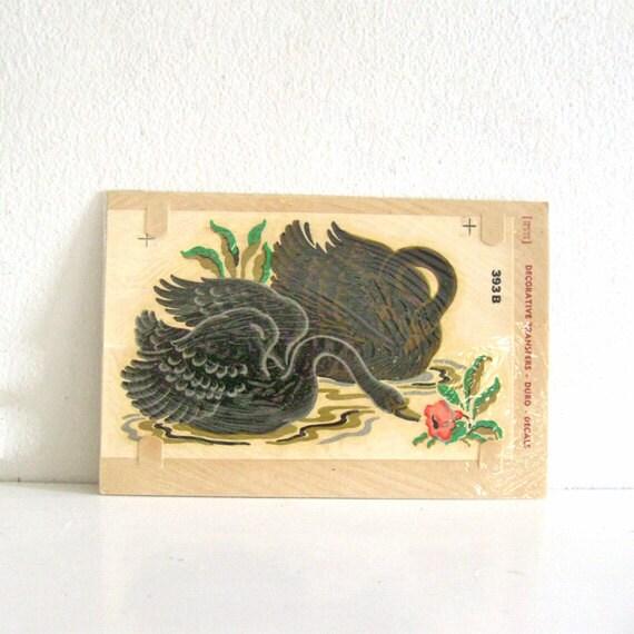 Vintage Duro Decal Transfer Black Swans NOS