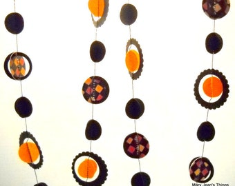 Halloween Multi-dimensional Orange and Black Paper Garland Party Decor OOAK