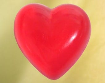 Heart Glycerin Soap, Clear Red