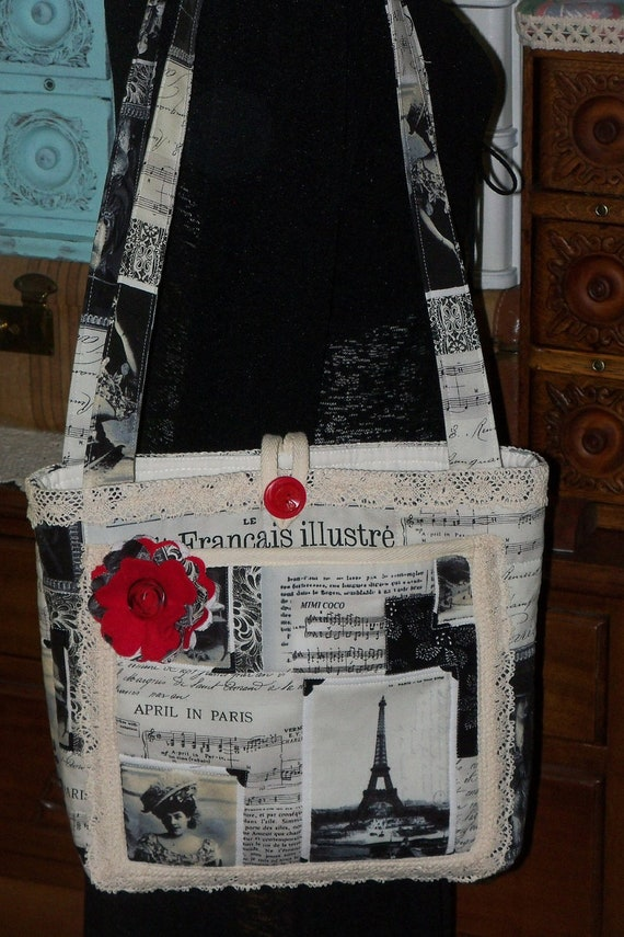 Timeless Treasures Collage Canvas Fabric  Tote Bag/Totebag   sewbuzyb sst