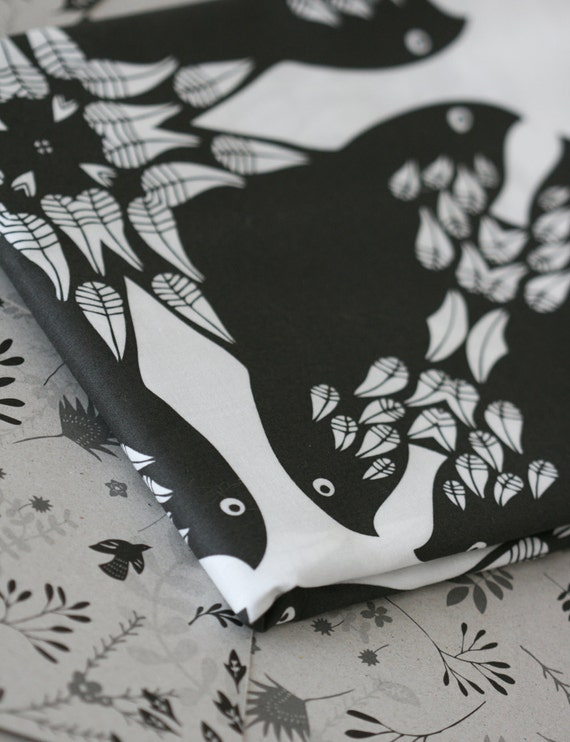 Crow Pattern Fabric - Black and White - Small Piece