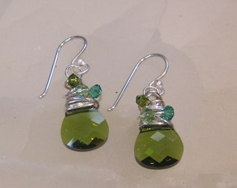Olivine Gem Drop Earrings