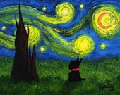 Scottie Dog Folk Art PRINT Todd Young painting Under a Starry Sky