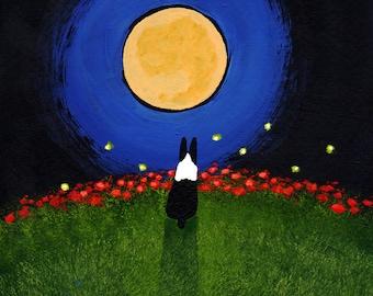 Boston Terrier Dog Outsider Folk Art PRINT Todd Young FIREFLIES