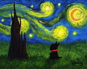 Scottie Dog Folk LARGE Art PRINT Todd Young painting Under a Starry Sky