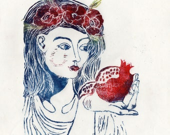 Persephone and the Pomegranate Linocut - Handprinted Illustration of Greek Myth Beauty with Poppies and Pomegranate