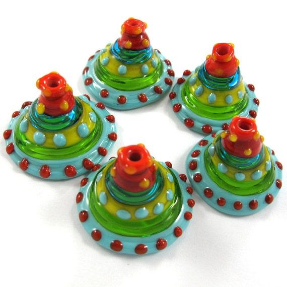 Lampwork beads. Ethnic Bells (5) SRA