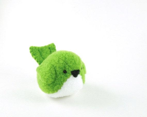 Bird Stuffed Animal in Kelly Green Kids Plush Bird Toy