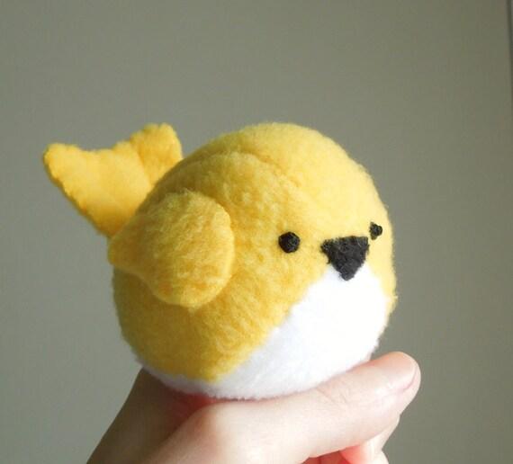 Kids Bright Yellow Bird Stuffed Animal Handmade Childrens Plush Toy