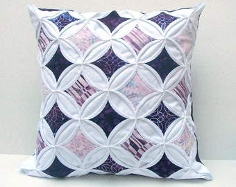 30% Off Decorative Throw Pillow Cover Purple Cathedral Window Batik 18 Inch
