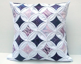 45% Off Decorative Throw Pillow Cover Purple Cathedral Window Batik 18 Inch