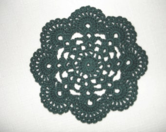 "New Handmade Crocheted ""Eight Shells"" Coaster/Doily in Hunter"