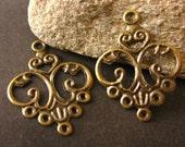 Earring Setting Antique Brass 24x13mm Filigree Chandelier Earring Findings Link or Pendant 20pcs