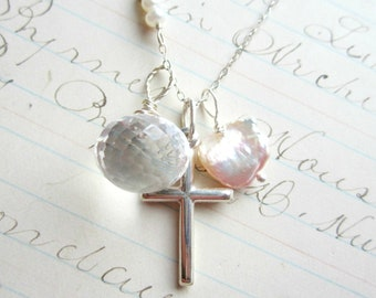 He is the Light Cross Necklace - Clear Diamond Like Quartz Gemstone Keshi Pearl Sterling Silver Faith Gift Birthday