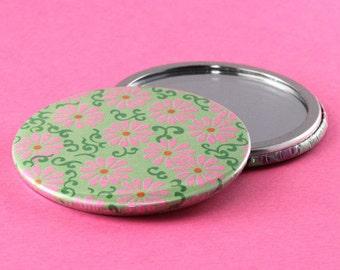 Pocket Mirror Flowers - Pink & Green