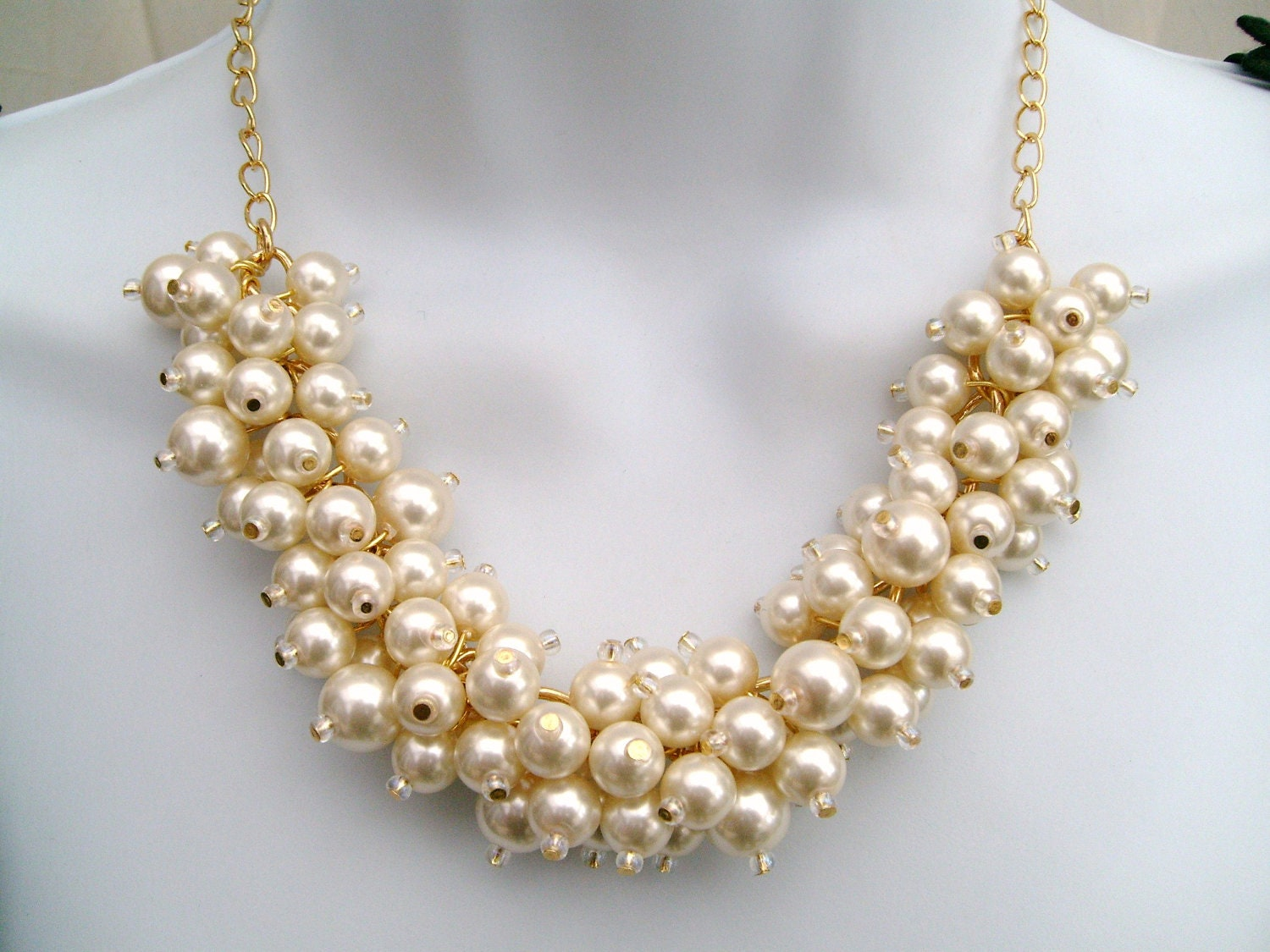 ivory pearl necklace beaded necklace wedding jewelry chunky