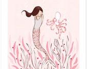 Children's Wall Art Print - The Mermaid & The Octopus - Girl Kids Nursery Room Decor