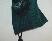 Handwoven knitting bag shoulder bag navy and jade