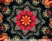 Artisan Textile Fiber Art Kaleidoscope Quilting Fabric 4 Cotton Fabric Panels Craft