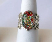 Red Kaleidoscope Vintage Glass - Adjustable Ring