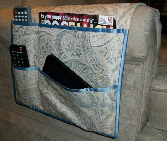 Last One - Wide Chair Caddy - Floral Jacquard Gold/Blue