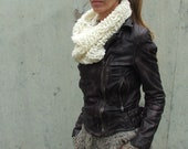 Ivory white scarf cowl cream loose knit Cowl fall scarf in winter white chunky knit