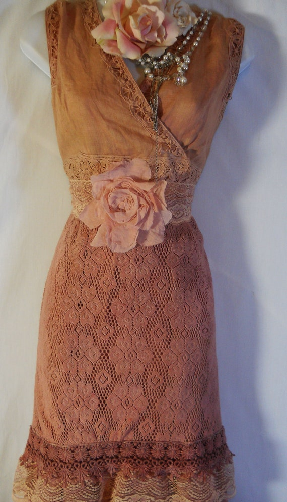 Boho maxi dress tea stained cotton rustic shabby wedding rose  vintage  romantic  large  by vintage opulence on Etsy