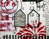 Original Mixed Media Abstract Collage Art - Next Door