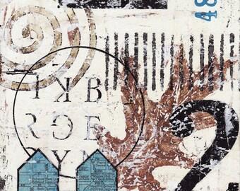 Original Mixed Media Abstract Collage Art - 48