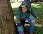 ON HOLD Fall toned Patchwork Princess hemp fleece hoodie with striped sleeves