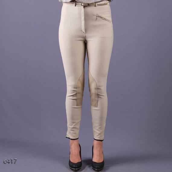 Vintage Jodhpur Pants / High Waisted Beige Skinny Pants / M