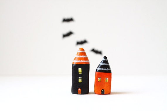Little Halloween clay houses - orange and black with white stripes