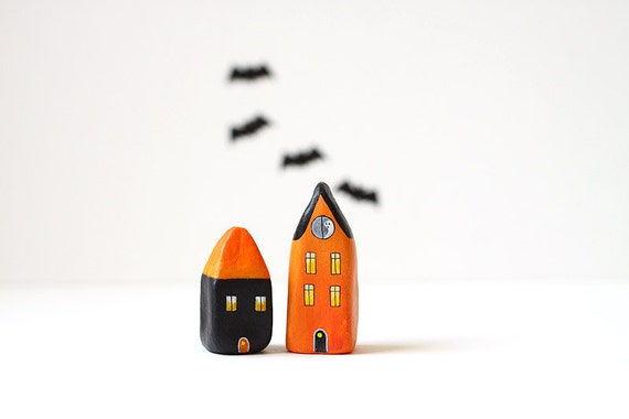 Little Halloween clay houses - orange and black with tiny ghost