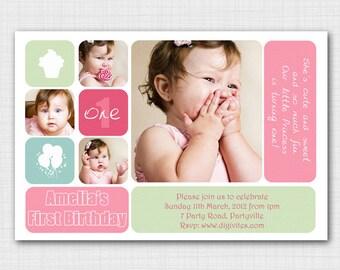 Modern photo birthday for baby girl BG006