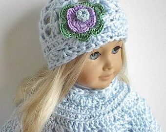 18 Inch Doll Clothes: Crocheted Poncho Set with Flowered Hat made to fit the American Girl Doll - You Choose Color - Ready to Shi