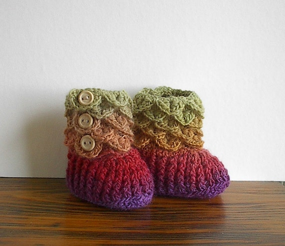 Crocodile Stitch Baby Booties Size Newborn to Six Months Crocheted - Ready to Ship