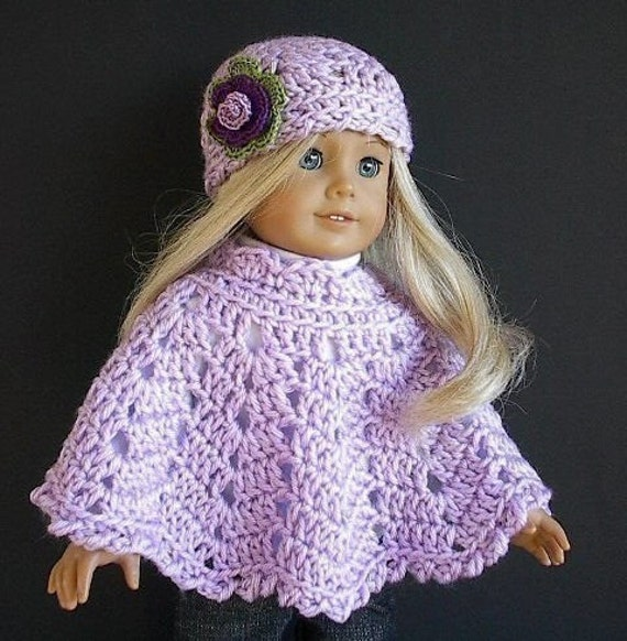 American Girl Doll Clothes: Crocheted Poncho Set with Flowered Hat ...