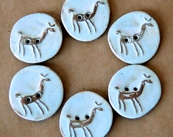 Handmade Ceramic Buttons - 6 Alpaca Buttons in Earthy Neutral Stoneware -  LlamaButtons